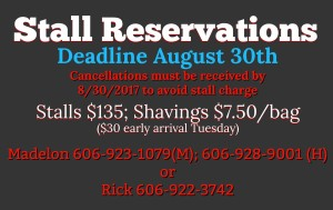 Stall Reservations due by 8/31